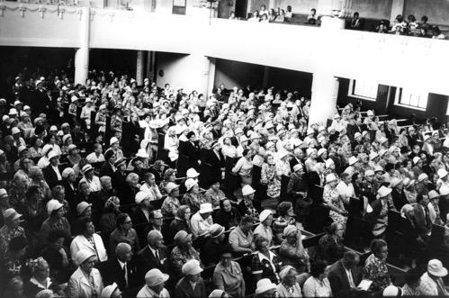 Hengellisen elämän syventymispäivät Kallion kirkossa 1960-luvulla. Kuva Martti Häkkinen.